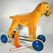 """Large 20"""" 1950's Ride-on Steiff Boxer Dog, Vg Condition W/ Ear Button, Clean"""