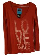 Bmw Motorrad Women's Love Bikes Red Long Sleeve Shirt Size S Made In Germany