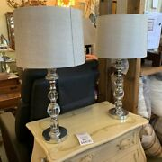 Pair Of Silver And Glass Lamps With Silver Shades