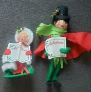 Annalee Christmas Carolers Mobility Dolls Lot Of 2