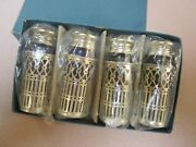 Vintage 4 Cobalt Blue Glass Salt And Pepper Shakers Silver Plate With Original Box
