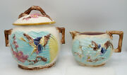 Antique Majolica Pottery Bird/butterfly And Fan Sugar And Creamer, Wardle, Uk M075