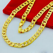 Heavy Cuban Curb Classic Necklace Chain 30and039and039 Men 24k Yellow Gold Filled Chains