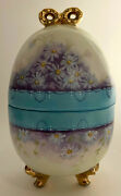 Vintage China Hand Painted Porcelain Shabby And Chic Lavender Blue Gold Easter Egg