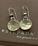 Silpadaretired Sterling 925 Hammered Dangle Spiral Earrings French Wires W1354