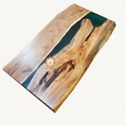 Wooden Acacia Green Resin Cocktail Table Handmade Furniture Home And Office Decors