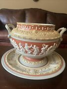 Mettlach Stein Maker Cameo Tureen Punch Bowl Germany Dated 1894 Mold 2087 Plate