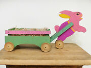 Antique Vintage 1940s Easter Egg Rabbit Bunny Wagon Wood Pull Toy Handmade