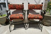 Vintage Wrought Iron Spanish Style Chairs Set Of 2