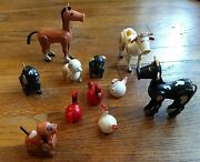 Vintage Fisher Price Little People Farm Animals Cow Horse Pig Rooster Hen Dog