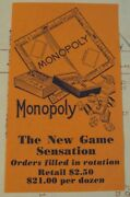 Rare 1936 And039wholesale Advertisingand039monopoly The New Game Sensation