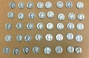 90 Silver 1930's Average Circulated Washington Quarters Full Roll Of 40