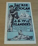 1924 'silent Family Drama Movie Herald/flyer'a Boy Of Flanders Jackie Coogan
