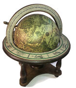 Italian Vintage Old World Wooden Globe Zodiac Astrology Signs Map Routes Italy