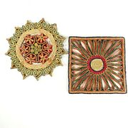 Pair Of Straw Raffia Hot Plate Mats Square And Star Trivet Handwoven Floral Design