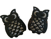 Two Vintage Cast Iron Owl Trivets Made In Taiwan