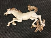 Incredible Vtg Mid Century Ivory And Gold Galloping Chalkware Hanging Horse Wall D
