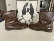 Hush Puppies Vintage Mens Leather Zip Up Shoes Boots Mens Size 11m