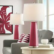 Modern Table Lamps Set Of 2 Antique Red Glass Column For Living Room Bedroom