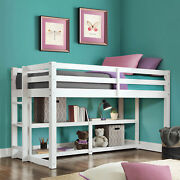 Twin Size Loft Storage Bed Wood Frame White Finish Beds For Kids Child Teen