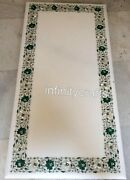 24 X 60 Inch Marble Coffee Table Top Floral Design Inlaid At Border Island Table