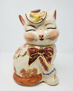 Vintage Shawnee Puss 'n Boots Cat Cookie Jar With Gold Accents