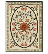 36 X 60 Inches Marble Dining Table Top Marquetry Art Conference Table For Office