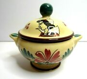 Vintage Quimper Pottery Sugar Bowl With Lid Floral Peasant Woman Faience