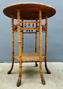 Antique Victorian Tortoise Bamboo Rattan Wicker Round Side Table Plant Stand