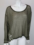 Free People Long Sleeve Shirt Small Olive Green Stripe Crochet Lace Top Blouse