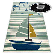 Modern Coloured Rugs And039petiteand039 Sail Boat Green For Kids Best Quality