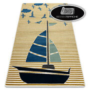 Modern Coloured Rugs And039petiteand039 Sail Boat Gold For Kids Best Quality