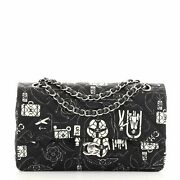 Airlines Classic Double Flap Bag Quilted Printed Satin Medium