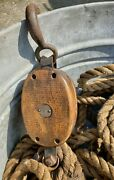 Antique Large Single Barn Block And Tackle Pulley Iron And Wood W Hook And 80ft+ Rope