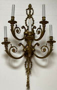 Pair Vintage Adams Style Brass Bronze Wall Sconces Tassel French 5 Light 29andrdquo
