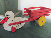 Vintage Wooden Toy Duck With Red Cart With Yellow Wheels