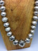 Vintage Navajo Bench Bead Necklace - Graduated And Stamped 70.7g