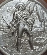 Privateer 2oz Silver .999 No Prey No Pay Pirate Skull Round Coin Elemental Mint