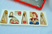 Vintage Erzgebirge Wooden Christmas Toy Decorations German Lot Of 8 Boxed