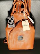 Nwt Valentina Made In Italy Sling Pebbled Leather Backpack Bag In Amber Brown