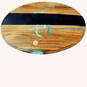 Epoxy Resin Coffee Table Wooden Acacia Round River Dining Desk Furniture Decors