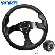 For 94-01 Acura Integra 320mm Pvc Steering Wheel Yellow Stitch W/ Spoon And Hub