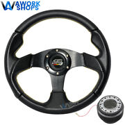 For 94-01 Acura Integra 320mm Pvc Steering Wheel Yellow Stitch W/ Mugen And Hub