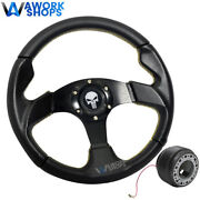 For 94-01 Acura Integra 320mm Pvc Steering Wheel Yellow Stitch W/ Punisher And Hub