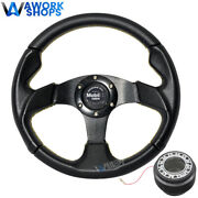 For 94-01 Acura Integra 320mm Pvc Steering Wheel Yellow Stitch W/ Mobil Cf And Hub