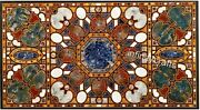 30 X 60 Inches Marble Coffee Table Top Multi Color Gemstones Inlaid Island Table