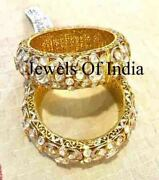 Natural Diamond Polki And 925 Sterling Silver Victorian 2 Pieces Bangle Jewelry