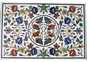 30 X 48 Inches Marble Coffee Table Top Multi Color Gemstones Inlaid Island Table