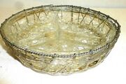 Vintage Divided Candy Nut Dish Bowl Silver Wire Basket Sunburst Clear Glass