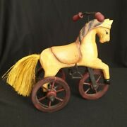 Rustic Horse On Wheels Wood Metal Tricycle Farmhouse Dandeacutecor Pull Toy Rocking Vtg
